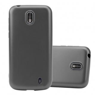 Cadorabo Hülle für Nokia 1 2017 in METALLIC GRAU - Handyhülle aus flexiblem TPU Silikon - Silikonhülle Schutzhülle Ultra Slim Soft Back Cover Case Bumper
