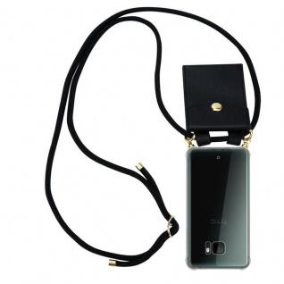 Cadorabo Handy Kette für HTC U ULTRA in SCHWARZ - Silikon Necklace Umhänge Hülle mit Gold Ringen, Kordel Band Schnur und abnehmbarem Etui ? Schutzhülle