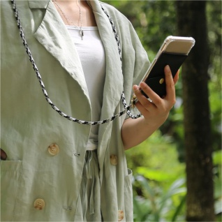 Cadorabo Handy Kette für Nokia 2.2 in SCHWARZ CAMOUFLAGE Silikon Necklace Umhänge Hülle mit Gold Ringen, Kordel Band Schnur und abnehmbarem Etui Schutzhülle - Vorschau 4