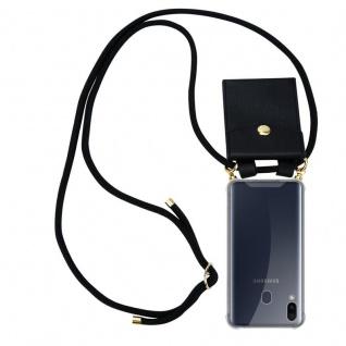 Cadorabo Handy Kette für Samsung Galaxy M20 in SCHWARZ - Silikon Necklace Umhänge Hülle mit Gold Ringen, Kordel Band Schnur und abnehmbarem Etui ? Schutzhülle - Vorschau 1