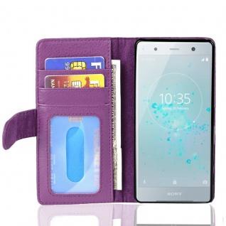 Cadorabo Hülle für Sony Xperia XZ2 in BORDEAUX LILA - Handyhülle mit Magnetverschluss und 3 Kartenfächern - Case Cover Schutzhülle Etui Tasche Book Klapp Style