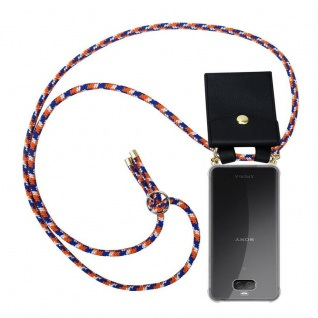 Cadorabo Handy Kette für Sony Xperia 10 PLUS in ORANGE BLAU WEISS - Silikon Necklace Umhänge Hülle mit Gold Ringen, Kordel Band Schnur und abnehmbarem Etui ? Schutzhülle