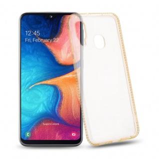 Cadorabo Hülle für Samsung Galaxy A20e - Hülle in TRANSPARENT GOLD ? Handyhülle aus TPU Silikon im Strass Design - Silikonhülle Schutzhülle Ultra Slim Soft Back Cover Case Bumper