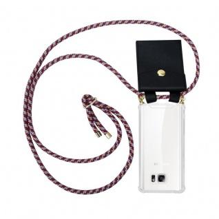 Cadorabo Handy Kette für Samsung Galaxy NOTE 5 in ROT GELB WEISS - Silikon Necklace Umhänge Hülle mit Gold Ringen, Kordel Band Schnur und abnehmbarem Etui ? Schutzhülle