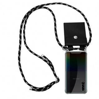 Cadorabo Handy Kette für Samsung Galaxy A90 5G in SCHWARZ SILBER Silikon Necklace Umhänge Hülle mit Silber Ringen, Kordel Band Schnur und abnehmbarem Etui Schutzhülle
