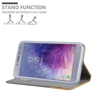 Cadorabo Hülle für Samsung Galaxy J4 2018 in HELL GRAU BRAUN - Handyhülle mit Magnetverschluss, Standfunktion und Kartenfach - Case Cover Schutzhülle Etui Tasche Book Klapp Style - Vorschau 4