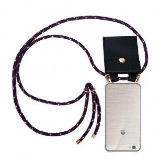 Cadorabo Handy Kette für Huawei P8 LITE 2015 in BLAU ROT WEISS GEPUNKTET - Silikon Necklace Umhänge Hülle mit Gold Ringen, Kordel Band Schnur und abnehmbarem Etui ? Schutzhülle