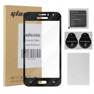 Cadorabo Vollbild Panzer Folie für Samsung Galaxy J1 2016 - Schutzfolie in TRANSPARENT mit SCHWARZ - Gehärtetes (Tempered) Display-Schutzglas in 9H Härte mit 3D Touch Kompatibilität