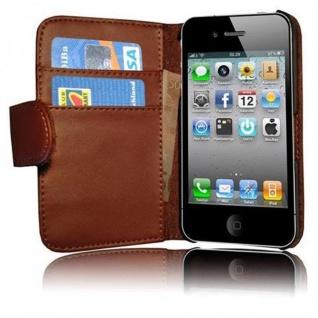 Cadorabo Hülle für Apple iPhone 4 / iPhone 4S in KAKAO BRAUN - Handyhülle aus glattem Kunstleder mit Standfunktion und Kartenfach - Case Cover Schutzhülle Etui Tasche Book Klapp Style