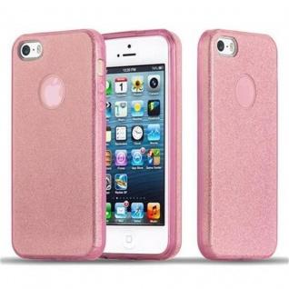 Cadorabo Hülle für Apple iPhone 5 / iPhone 5S / iPhone SE - Hülle in STERNENSTAUB PINK ? TPU Silikon und Hardcase Handyhülle im Glitzer Design - Hard Case TPU Silikon Schutzhülle