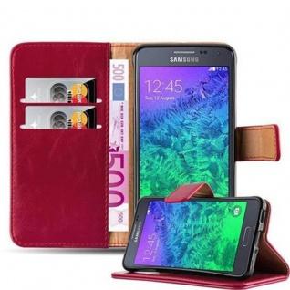 Cadorabo Hülle für Samsung Galaxy ALPHA in WEIN ROT Handyhülle mit Magnetverschluss, Standfunktion und Kartenfach Case Cover Schutzhülle Etui Tasche Book Klapp Style