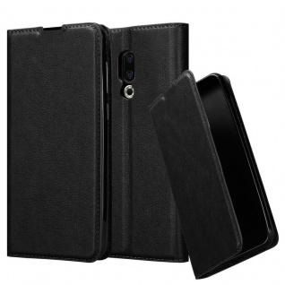 Cadorabo Hülle für MEIZU 16 in NACHT SCHWARZ - Handyhülle mit Magnetverschluss, Standfunktion und Kartenfach - Case Cover Schutzhülle Etui Tasche Book Klapp Style