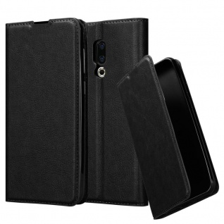 Cadorabo Hülle für MEIZU 16 in NACHT SCHWARZ Handyhülle mit Magnetverschluss, Standfunktion und Kartenfach Case Cover Schutzhülle Etui Tasche Book Klapp Style