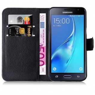 Cadorabo Hülle für Samsung Galaxy J3 2015 in PHANTOM SCHWARZ Handyhülle mit Magnetverschluss, Standfunktion und Kartenfach Case Cover Schutzhülle Etui Tasche Book Klapp Style - Vorschau 3