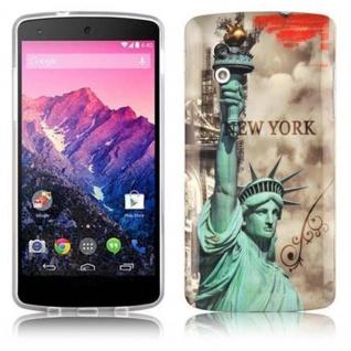 Cadorabo - Hard Cover für LG Google Nexus 5 - Case Cover Schutzhülle Bumper im Design: NEW YORK - FREIHEITSSTATUE
