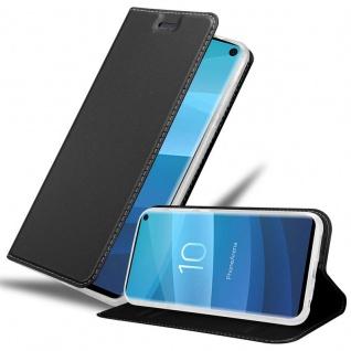 Cadorabo Hülle für Samsung Galaxy S10 in CLASSY SCHWARZ Handyhülle mit Magnetverschluss, Standfunktion und Kartenfach Case Cover Schutzhülle Etui Tasche Book Klapp Style