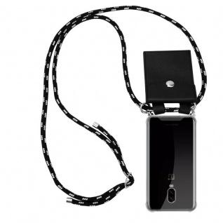 Cadorabo Handy Kette für OnePlus 6T in SCHWARZ SILBER Silikon Necklace Umhänge Hülle mit Silber Ringen, Kordel Band Schnur und abnehmbarem Etui Schutzhülle