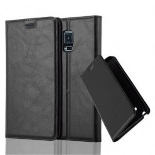 Cadorabo Hülle für Samsung Galaxy NOTE EDGE in NACHT SCHWARZ - Handyhülle mit Magnetverschluss, Standfunktion und Kartenfach - Case Cover Schutzhülle Etui Tasche Book Klapp Style