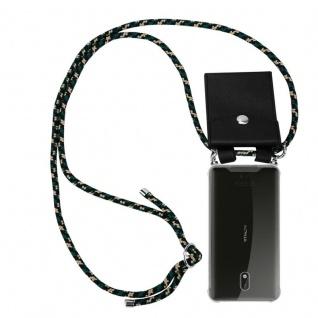 Cadorabo Handy Kette für Nokia 3 2017 in CAMOUFLAGE Silikon Necklace Umhänge Hülle mit Silber Ringen, Kordel Band Schnur und abnehmbarem Etui Schutzhülle