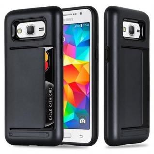 Cadorabo Hülle für Samsung Galaxy GRAND PRIME - Hülle in ARMOR SCHWARZ ? Handyhülle mit Kartenfach - Hard Case TPU Silikon Schutzhülle für Hybrid Cover im Outdoor Heavy Duty Design