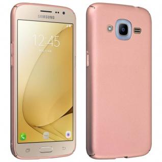 Cadorabo Hülle für Samsung Galaxy J2 2016 in METALL ROSÉ GOLD - Hardcase Handyhülle aus Plastik gegen Kratzer und Stöße - Schutzhülle Bumper Ultra Slim Back Case Hard Cover