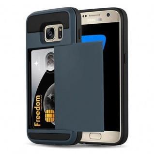 Cadorabo Hülle für Samsung Galaxy S7 - Hülle in TRESOR NAVY BLAU - Handyhülle mit verstecktem Kartenfach - Hard Case TPU Silikon Schutzhülle für Hybrid Cover