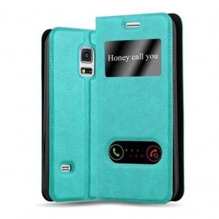 Cadorabo Hülle für Samsung Galaxy S5 MINI / S5 MINI DUOS in MINT TÜRKIS - Handyhülle mit Magnetverschluss, Standfunktion und 2 Sichtfenstern - Case Cover Schutzhülle Etui Tasche Book Klapp Style