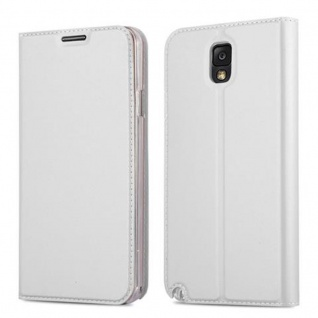 Cadorabo Hülle für Samsung Galaxy NOTE 3 in CLASSY SILBER - Handyhülle mit Magnetverschluss, Standfunktion und Kartenfach - Case Cover Schutzhülle Etui Tasche Book Klapp Style