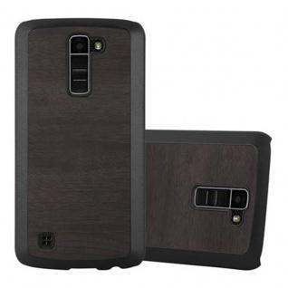 Cadorabo Hülle für LG K10 2016 in WOODY SCHWARZ ? Hardcase Handyhülle aus Plastik gegen Kratzer und Stöße ? Schutzhülle Bumper Ultra Slim Back Case Hard Cover