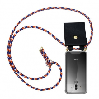 Cadorabo Handy Kette für Huawei MATE 10 PRO in ORANGE BLAU WEISS - Silikon Necklace Umhänge Hülle mit Gold Ringen, Kordel Band Schnur und abnehmbarem Etui ? Schutzhülle