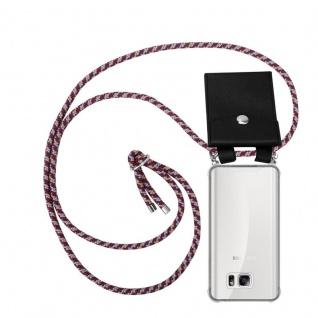 Cadorabo Handy Kette für Samsung Galaxy NOTE 5 in ROT GELB WEISS - Silikon Necklace Umhänge Hülle mit Silber Ringen, Kordel Band Schnur und abnehmbarem Etui - Schutzhülle