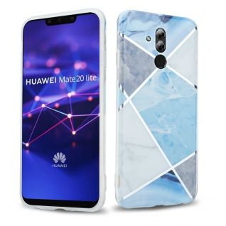Cadorabo Hülle für Huawei MATE 20 LITE Hülle in Blau weiß grau Marmor No.2 Handyhülle aus TPU Silikon mit Muster Mosaik Silikonhülle Schutzhülle Ultra Slim Back Cover Case Bumper
