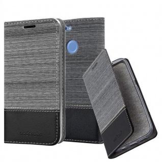 Cadorabo Hülle für Huawei NOVA 2 in GRAU SCHWARZ - Handyhülle mit Magnetverschluss, Standfunktion und Kartenfach - Case Cover Schutzhülle Etui Tasche Book Klapp Style