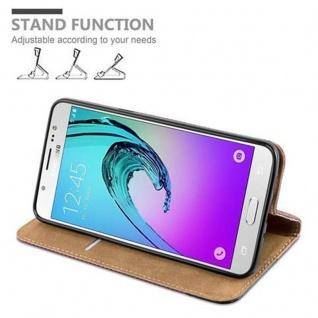 Cadorabo Hülle für Samsung Galaxy J5 2016 (6) - Hülle in KASTANIEN BRAUN - Handyhülle in Bast-Optik mit Kartenfach und Standfunktion - Case Cover Schutzhülle Etui Tasche Book Klapp Style - Vorschau 5