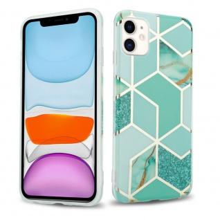 Cadorabo Hülle für Apple iPhone 11 (XI) Hülle in Grün hellgrün gold Marmor No.3 Handyhülle aus TPU Silikon mit Muster Mosaik Silikonhülle Schutzhülle Ultra Slim Back Cover Case Bumper