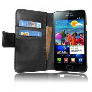 Cadorabo Hülle für Samsung Galaxy S2 / S2 PLUS in KAVIAR SCHWARZ ? Handyhülle aus glattem Kunstleder mit Standfunktion und Kartenfach ? Case Cover Schutzhülle Etui Tasche Book Klapp Style