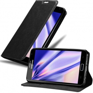Cadorabo Hülle für Samsung Galaxy NOTE 1 in NACHT SCHWARZ Handyhülle mit Magnetverschluss, Standfunktion und Kartenfach Case Cover Schutzhülle Etui Tasche Book Klapp Style