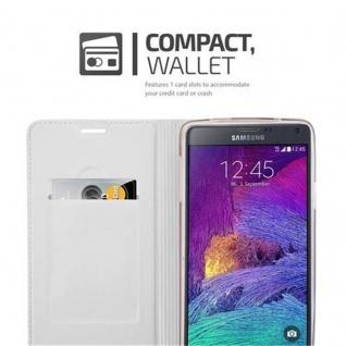 Cadorabo Hülle für Samsung Galaxy NOTE 4 in CLASSY SILBER - Handyhülle mit Magnetverschluss, Standfunktion und Kartenfach - Case Cover Schutzhülle Etui Tasche Book Klapp Style - Vorschau 3
