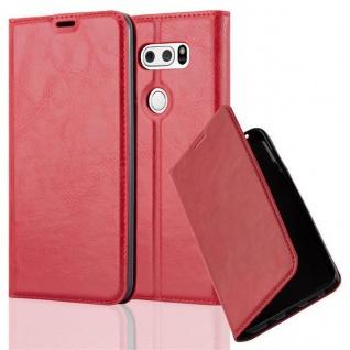 Cadorabo Hülle für LG V30 in APFEL ROT Handyhülle mit Magnetverschluss, Standfunktion und Kartenfach Case Cover Schutzhülle Etui Tasche Book Klapp Style
