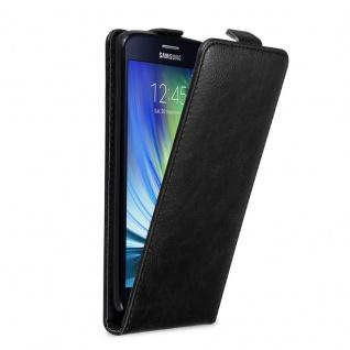 Cadorabo Hülle für Samsung Galaxy A8 2015 in NACHT SCHWARZ Handyhülle im Flip Design mit Magnetverschluss Case Cover Schutzhülle Etui Tasche Book Klapp Style