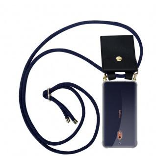 Cadorabo Handy Kette für Nokia 2.1 2018 in TIEF BLAU - Silikon Necklace Umhänge Hülle mit Gold Ringen, Kordel Band Schnur und abnehmbarem Etui ? Schutzhülle