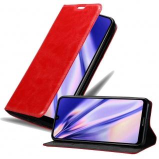 Cadorabo Hülle für Huawei Y7 2019 in APFEL ROT Handyhülle mit Magnetverschluss, Standfunktion und Kartenfach Case Cover Schutzhülle Etui Tasche Book Klapp Style