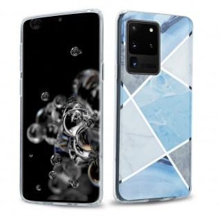Cadorabo Hülle für Samsung Galaxy S20 ULTRA Hülle in Blau weiß grau Marmor No.2 Handyhülle aus TPU Silikon mit Muster Mosaik Silikonhülle Schutzhülle Ultra Slim Back Cover Case Bumper