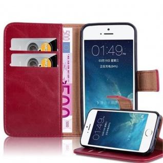 Cadorabo Hülle für Apple iPhone 5 / iPhone 5S / iPhone SE in WEIN ROT ? Handyhülle mit Magnetverschluss, Standfunktion und Kartenfach ? Case Cover Schutzhülle Etui Tasche Book Klapp Style