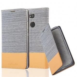 Cadorabo Hülle für Sony Xperia L2 in HELL GRAU BRAUN - Handyhülle mit Magnetverschluss, Standfunktion und Kartenfach - Case Cover Schutzhülle Etui Tasche Book Klapp Style