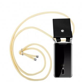 Cadorabo Handy Kette für OnePlus 6T in CREME BEIGE Silikon Necklace Umhänge Hülle mit Silber Ringen, Kordel Band Schnur und abnehmbarem Etui Schutzhülle
