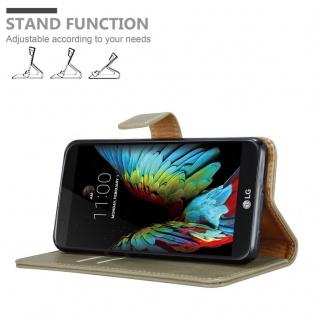 Cadorabo Hülle für LG K10 2016 in CAPPUCCINO BRAUN ? Handyhülle mit Magnetverschluss, Standfunktion und Kartenfach ? Case Cover Schutzhülle Etui Tasche Book Klapp Style - Vorschau 4