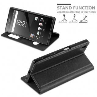 Cadorabo Hülle für Sony Xperia Z5 PREMIUM in KOMETEN SCHWARZ ? Handyhülle mit Magnetverschluss, Standfunktion und 2 Sichtfenstern ? Case Cover Schutzhülle Etui Tasche Book Klapp Style - Vorschau 3