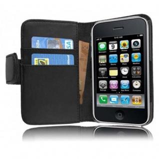 Cadorabo Hülle für Apple iPhone 3 / iPhone 3GS in KAVIAR SCHWARZ - Handyhülle aus glattem Kunstleder mit Standfunktion und Kartenfach - Case Cover Schutzhülle Etui Tasche Book Klapp Style