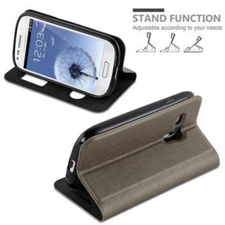 Cadorabo Hülle für Samsung Galaxy S3 MINI in STEIN BRAUN - Handyhülle mit Magnetverschluss, Standfunktion und 2 Sichtfenstern - Case Cover Schutzhülle Etui Tasche Book Klapp Style - Vorschau 4